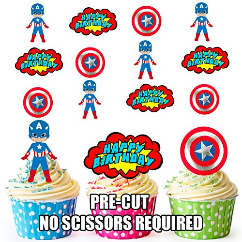 AK Giftshop PRE-CUT Captain America Superhero Happy Birthday Pack - Edible Cupcake Toppers/Cake Decorations (Pak van 12)