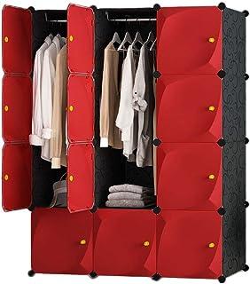 LYLY Armoire de rangement portable rouge avec penderie pour vêtements (couleur : rouge, taille : C)