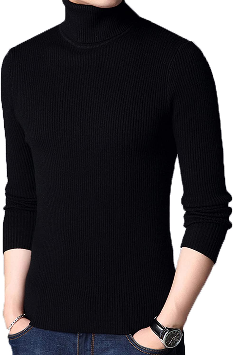 Men's Turtleneck Sweaters Slim Fit Knitted Pullover Solid Color Soft Long Sleeve Jumper