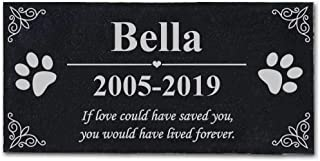 HMGYGS Customized Personalized Pet Memorial Stone for Garden, Backyard, Lawn, Pet Grave Marker for Dog or Cat, Free Lettering (12'' x 6'')