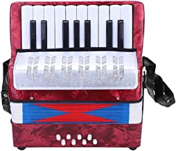 Accordion, Mini Small 17-Key 8 Bass Accordion Educational Musical Instrument Toy for Beginner Early Childhood Teaching(Red)