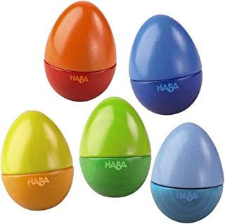 HABA Shakin Eggs - HABA Shakin Eggs - Feel the Rhythm While Learning Sound Differentiation with 5 Wooden Eggs Classic Musical Fun