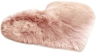 Luxury Faux Fur Sheepskin Rug - Iuhan Love Heart Shape Rugs Super Soft Faux Sheepskin Area Rugs Silky Long Wool Carpet Living Room Carpet Bedroom Rug for Children Play Solid Home Decorator (D)
