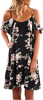Wintialy Women Summer Floral Ruffles Dress Off Shoulder Mini Dress Beach Party Dress