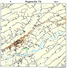 Large Street & Road Map of Rogersville, Tennessee TN - Printed poster size wall atlas of your home town