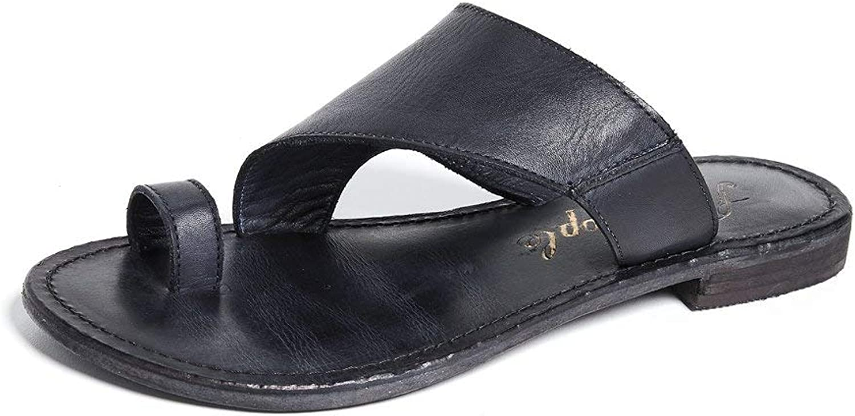 Free People Sant Antoni Toe Loop Leather Slides
