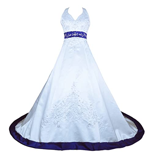 White and Blue Wedding Dress: Amazon.com