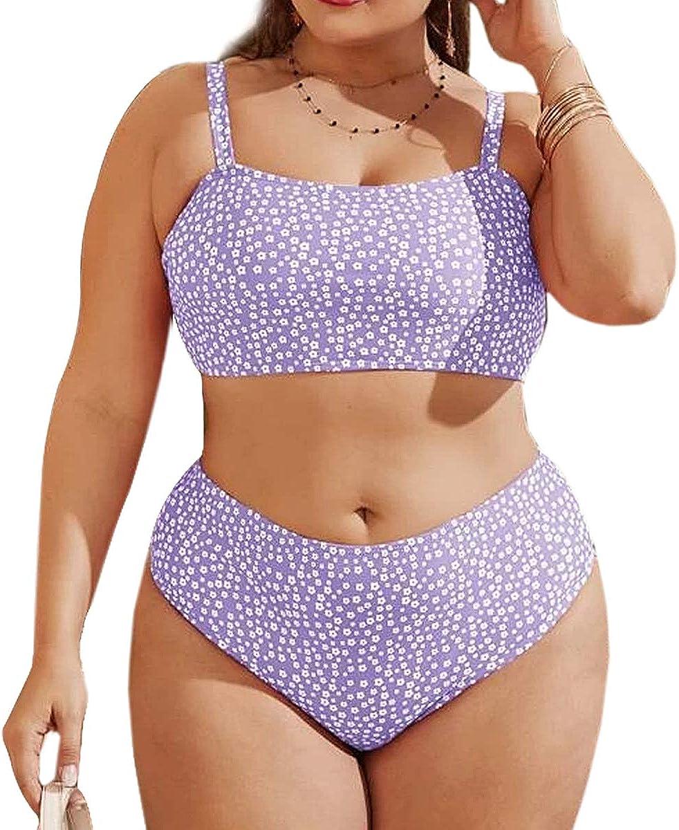 Yiouneey Women's Plus Size Two Piece Bandeau Bikini Swimsuit High Waisted Adjustable Straps Bathing Suts for Women