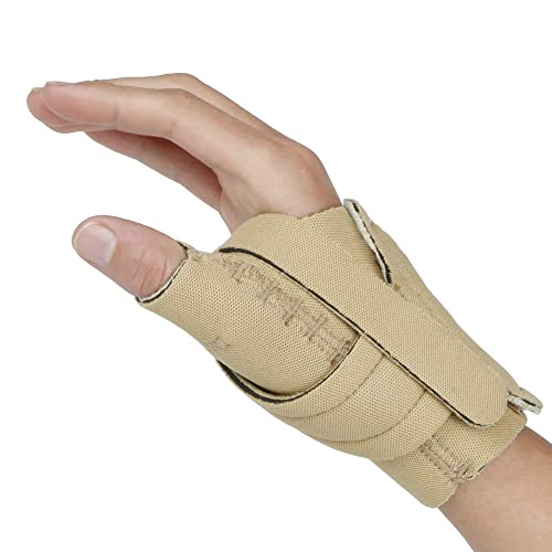 Comfort Cool Thumb CMC Restriction Splint. Beige Patented Thumb Brace Provides Support / Compression. Indications - Arthritis, Tendinitis, Dislocations, Sprains, Repetitive Use. Right Large