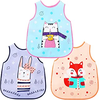Toddler Baby Waterproof Sleeved Bib /&Apron for Kids Feeding Painting Out door Anti-Dirty 6-36 Months,Set of 3 Soft material Bib with Sleeves/&Pocket