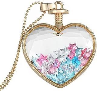 TOPUNDER Women Dry Flower Heart Glass Wishing Bottle Pendant Necklace