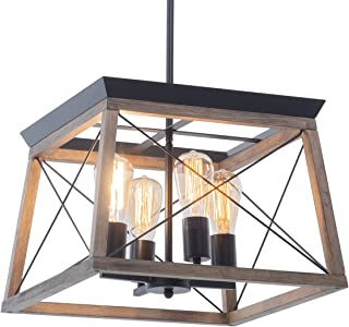 Elyccupa Wood Farmhouse Chandelier with Metal Cage 4...