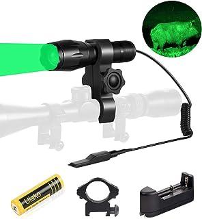 Ulako Green Light 350 Yards Spotlight Flood Light Zoomable Flashlight Torch for Hunting Hog Pig Coyote Varmint