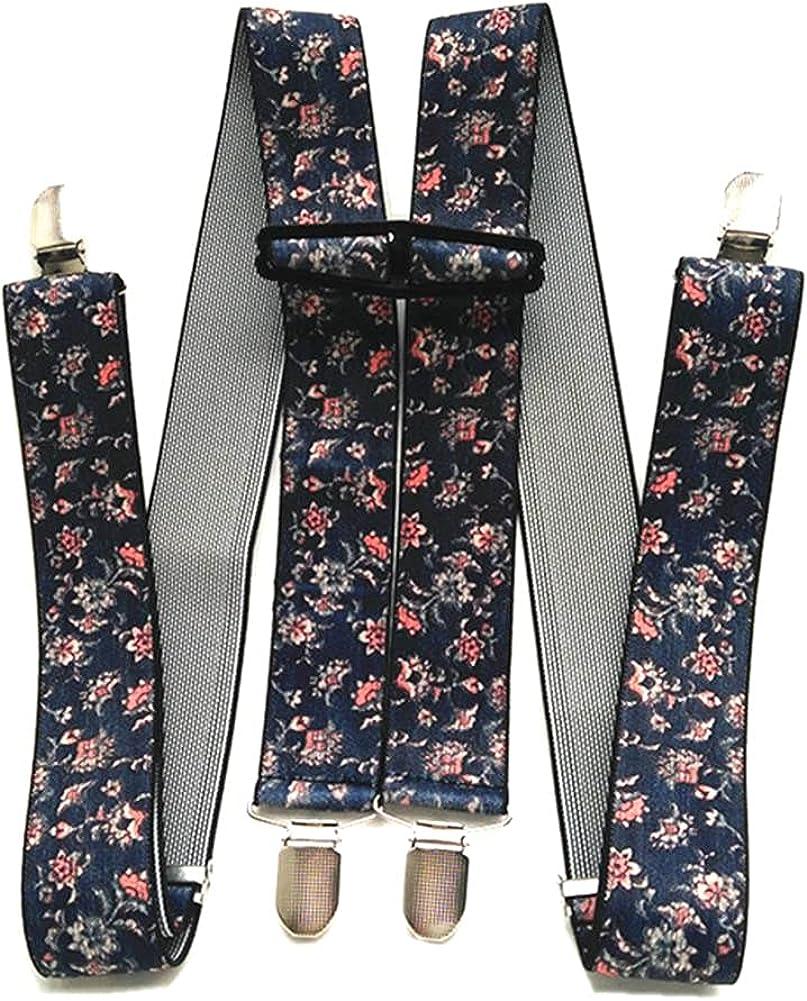 Flower Print H Shape Adult Suspenders 3.5 Width 4 Clips Adjustable Elastic Braces For Men Women Pants Trousers