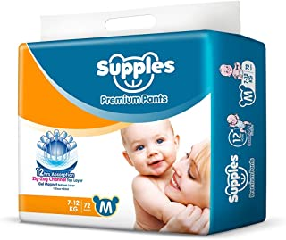 Supples Baby Pants Diapers, Medium, 72 Count
