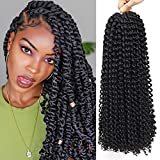 6Packs Passion Twist Hair 18Inch Water Wave Crochet Hair Passion Twist Crochet Braiding Hair Long Bohemian Hair Braiding Passion Twist Braids Synthetic Hair Extensions (1B)
