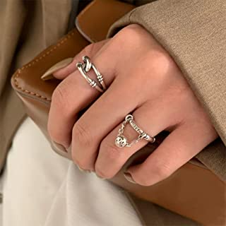 Aimimier Gothic S925 Knuckle Rings Set 2Pcs Smiley Finger Ring with Chain Tassel Half Open Infinity Love Knot Midi Ring fo...