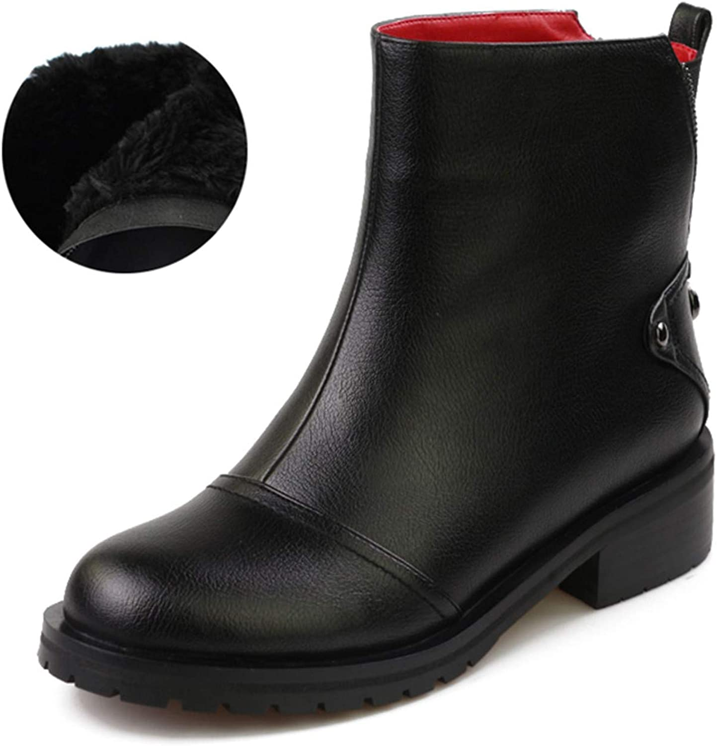 Thick Low Heels Women Ankle Boots Zip Round Toe Footwear Motorcycle