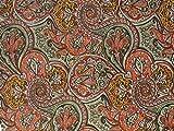 Dekostoff Vorhangstoff Samt Ornamente Paisley Muster orange