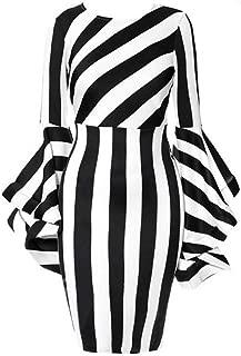 Women's Costume Elegant Dresses Plus Size Striped Crew Neck Ruffles Long Sleeve Bodycon Midi Party Dress