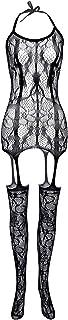 Women Fishnet Bodysuit Lingerie Lace Crotchles Sexy Mesh Body Stockings Sleepwear Nightwear Mesh Bodysuit Underwear Women'...