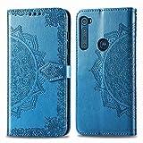 DOHUI für Motorola One Fusion Plus Hülle, Ultra Slim Premium PU Leder Flip Wallet Tasche mit Standfunktion & Magnetisch Schutzhülle Handyhüllen passt für Motorola One Fusion Plus Smartphone (Blau)