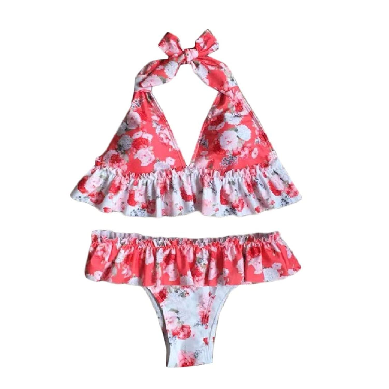 AngelSpace 女性のドレープレーストリムビーチは、花の花柄ビキニセットを着用