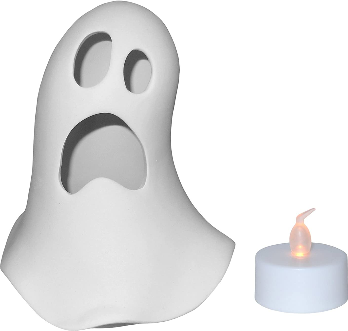 Spooky Ghost Votive Candle Holder and Battery Operated Tea Light Set - Paint Your Own Ceramic Keepsake