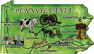 Flagline Pennsylvania - Acrylic State Map Refrigerator Magnet