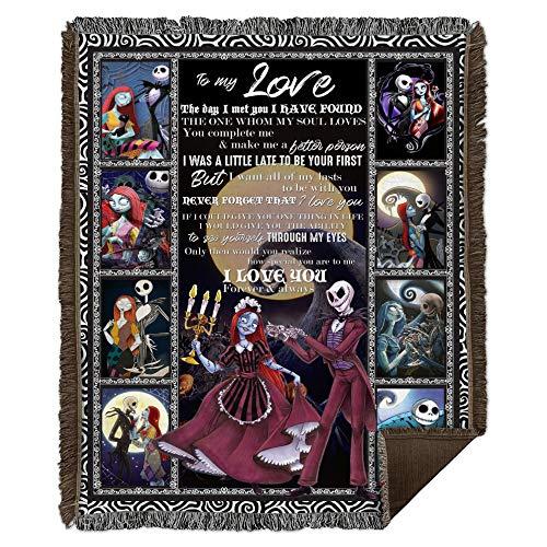 Zoko Apparel Jack Skellington And Sally Nightmare Before Christmas To My Love The Day I Met You - Manta tejida para decorar dormitorios (127 x 152 cm)