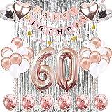 SUNPAT Decoraciones de Cumpleaños Número 60 Banner Globo Decoraciones de Cumpleaños Número 60 Artículos de Fiesta Regalos Para Mujeres Globos Número 60 de Oro Rosa, Globos de Confeti de Oro Rosa