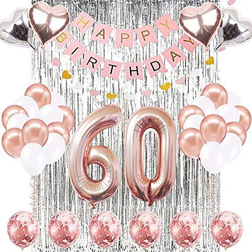 SUNPAT Decorazioni Del 60 ° Compleanno,Kit Banner Numero 60 Per le Donne Palloncini Per 60 ° Compleanno in Oro Rosa, Palloncini Con Coriandoli in Oro Rosa