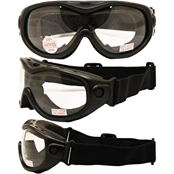 All-Star Motorcycle ATV MX Tactical Over-The-Glasses Goggles Gloss Black Frames Clear Lenses ANSI Z87.1+