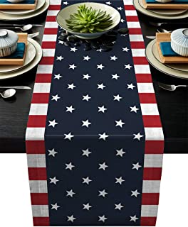T&H XHome Durable Fabric Table Runner,Independence Day Patriot American Flag Pentagram Freedom Country Washable Linen Tabl...