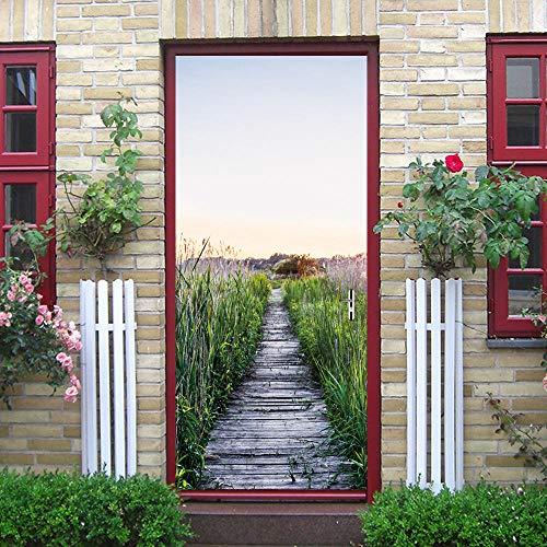 Etiqueta De La Puerta Pegatinas De Puerta 3D, Decoración De Puente Colgante Rojo, Etiqueta De PuertaImpermeable De Pvc, Autoadhesiva
