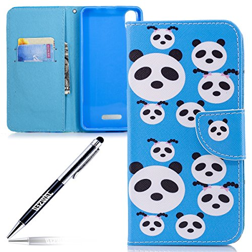 JAWSEU Phone Case Wiko Lenny 4 Plus Cases PU Leather Portefeuille Flip Case Cover veer vogel patroon blauw panda.