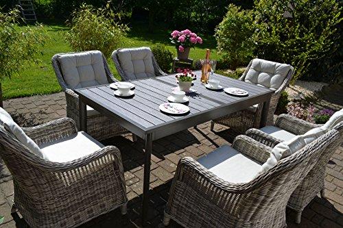 bomey Rattan Lounge Set I Gartenmöbel Set Como-XL 7-Teilig I Essgarnitur mit Polstern I Sitzgruppe Grau + Tisch Ausziehbar + Polster Beige I Dining Lounge für Terrasse + Wintergarten