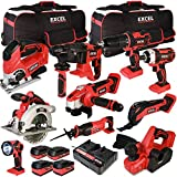 Excel 18V Cordless 10 Piece Power Tool Kit with 4 Batteries & Charger...