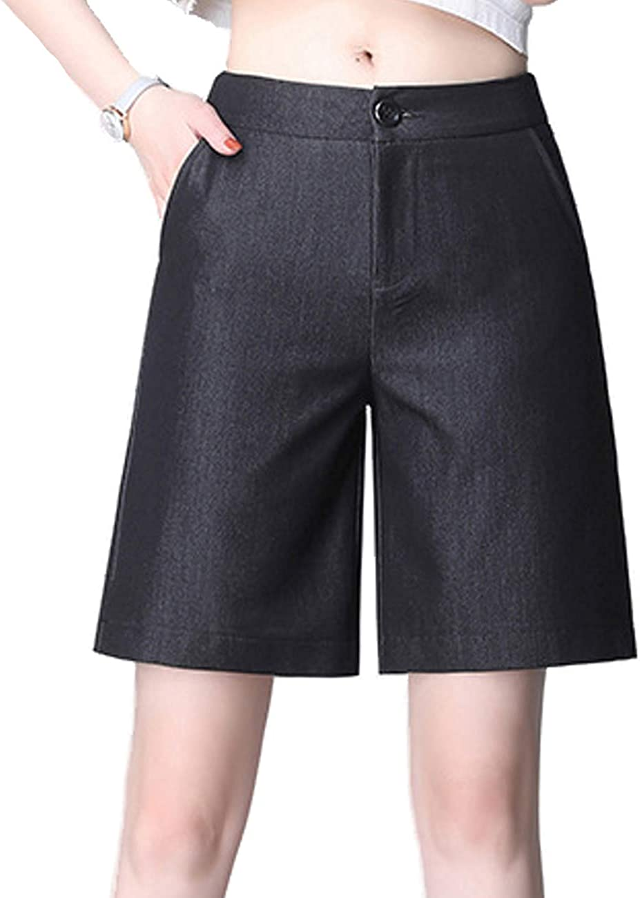 Femirah Women's Casual Elastic Waist Knee Length Denim Shorts Loose Straight Denim Shorts