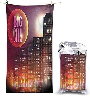 Ahuimin Quick Dry Beach Towel, Modern,Urban City Night Skyline, 55 x 27.5 Inches Super Absorbent Lightweight Microfiber Bath Towels for Travel Pool Gym