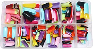 N-Fasion 500 Pcs 12 Assorted Colored Nail Tips False French Acrylic Gel Nail Art Tips Half Salon with Box (Mixed color)