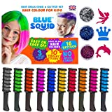 Hair Chalk for Girls Combs – And Glitter Tattoo Set, 10 Temporary Hair Color Brush for Kids, 16 Stencils, 3 Glitters &...
