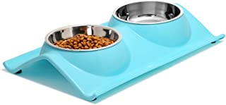 Upsky Double Dog Cat Bowls Premium Stainless Steel Pet Bowls No-Spill Resin Station, Food..