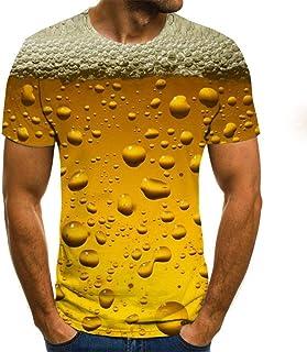 GHRFZC 3D Camiseta,Unisex Divertida Caricatura 3D Impreso Animal T-Shirt para Hombres Y Mujeres El Verano Cerveza Fría En Vaso De Cerveza Tops Camisetas De Manga Corta