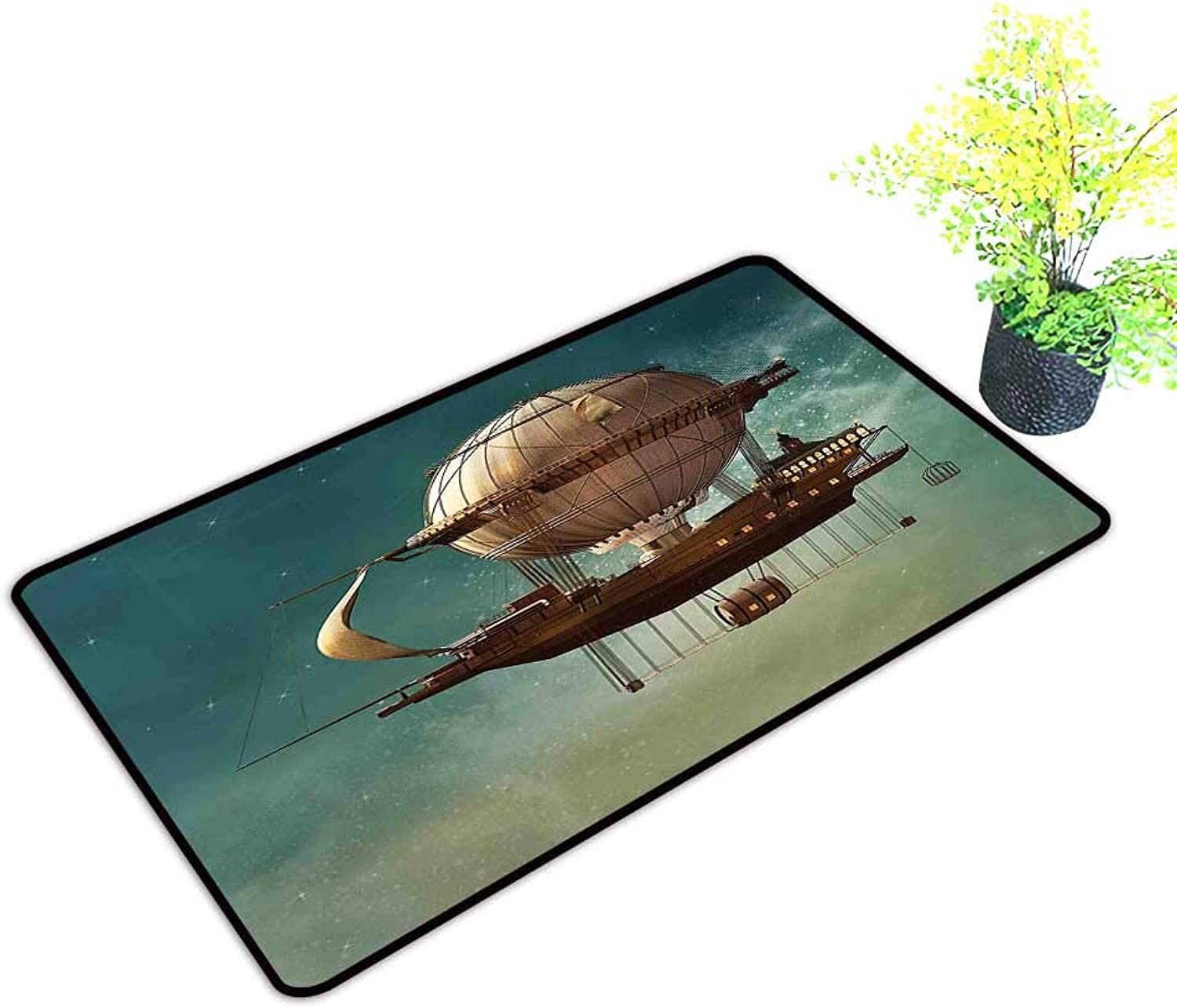 Entrance Door Mat Large Surreal Sky Scenery with Steampunk Airship Fairy Sci Fi Stardust Space Image bluee Dress Up Your Doorway W39 x H19 INCH