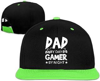 Adgjhbvn Unisex Dad by Day Gamer by Night Toddler Hip Hop Baseball Hat Boy Girls Green Gorras de Hip Hop de béisbol