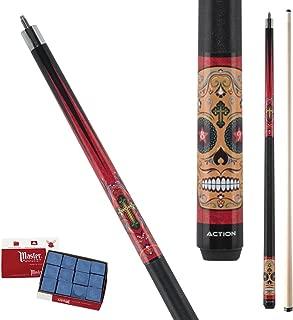 Action Calavera CAL02 Fiesta Sugar Skull Pool Cue Stick with 12 Pieces of Master Billiard Chalk