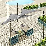Lestarain Toldo Vela de Sombra de HDPE protección UV No Impermeable para Jardín Terraza,Camping,Jardín,ect,triángulo 4x4x4m Gris