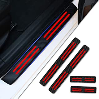 4pcs Carbon Fiber Car Door Sill Scuff Protector Welcome Pedal Protector for PORSCHE Cayenne Boxster 911 Panamera Cayman Macan