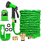 HOMOZE Hose Pipe Expandable Garden Hose Pipe 100FT Expanding Flexible Hosepipe With Brass Fittings/Quick Connector/8 Function Spray Gun/Garden Hose Storage Bag